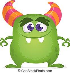 halloween, potwór, monster., illustration., wektor, zabawny, zielony, projektować, rysunek, rogaty