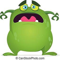 halloween, potwór, straszliwy, monster., wektor, illustration., zielony, projektować, rysunek