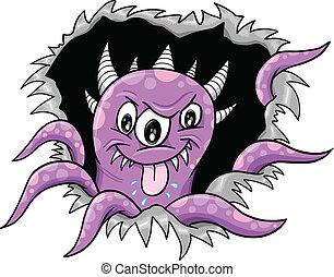 halloween, purpurowy, wektor, potwór