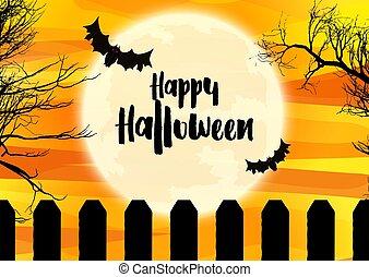 halloween, spooky, krajobraz