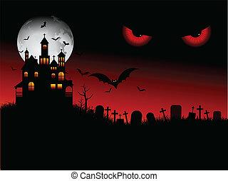 halloween, spooky, scena
