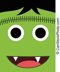 halloween, sprytny, potwór, twarz, zielony