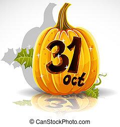 halloween, szczęśliwy, 31, październik, dynia