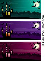 halloween, trzy, banners.