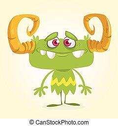 halloween, wektor, zielony potwór