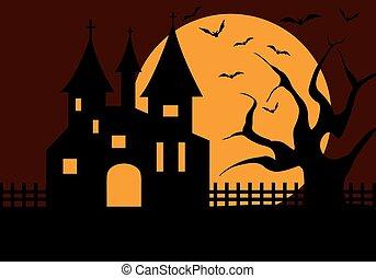 halloween, zamek, ilustracja