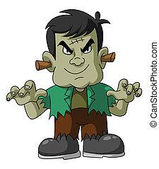 halloween, zielony potwór