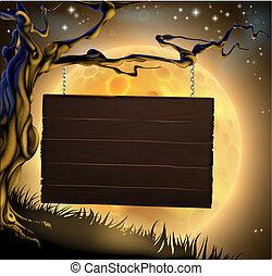halloween, znak, tło, drzewo
