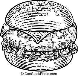 hamburger, hamburger, drzeworyt, ilustracja, rocznik wina