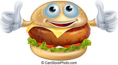 hamburger, rysunek, człowiek