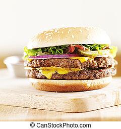 hamburger, ser, bekon, soczysty, podwójny