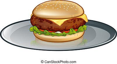 hamburger, ser, rysunek, płyta