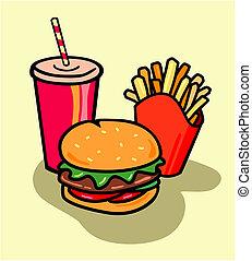 hamburger, soda, smaży, combo