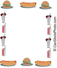 hamburger, tło, hotdog