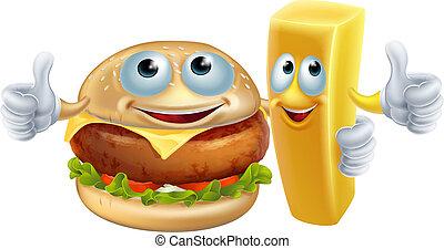 hamburger, wiór, litery