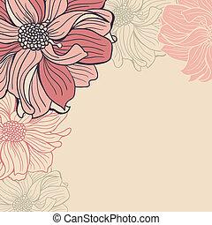 hand-drawn, kwiaty, powitanie karta