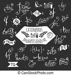 handdrawn, cielna, komplet, catchwords., ampersands