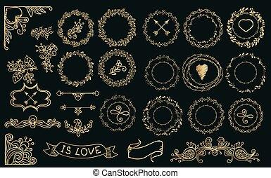 handdrawn, laurels, wreaths., zbiór, złoty
