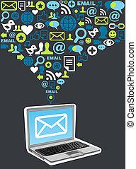handel, bryzg, email, kampania, ikona