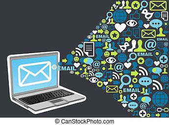handel, bryzg, pojęcie, email, ikona