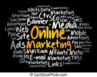 handel, collage, online, chmura, słowo