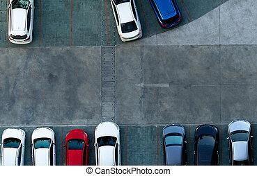 handel, opróżniać, road., parking, zaparkował, apartment., jeden, zewnątrz, konkretny, prospekt, górny, wóz, slot., lot., na wolnym powietrzu, powierzchnia, nad, znak, antena, droga, przestrzeń