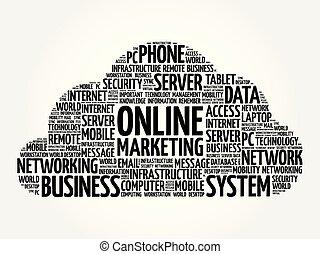 handel, słowo, chmura, online
