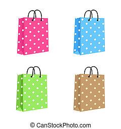 handles., brown., różowy, set., czysty, związać, torba, wektor, papier, zielony, zakupy, odizolowany, błękitny