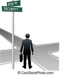 handlowa decyzja, wybór, osoba, uliczne oznakowanie, przyszłość