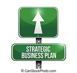 handlowa ilustracja, strategiczny, plan, znak, droga