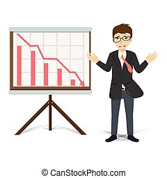 handlowa ilustracja, wektor, zstępny, nieszczęśliwy, biznesmen, niniejszy