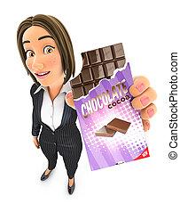 handlowa kobieta, czekolada zasuwają, 3d, dzierżawa