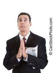 handlowa sekcja, do góry, patrząc, dzierżawa gazeta, biznesmen, modlący się