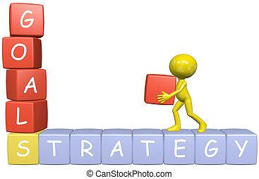 handlowa strategia, człowiek, cele, rysunek, tworzy, 3d