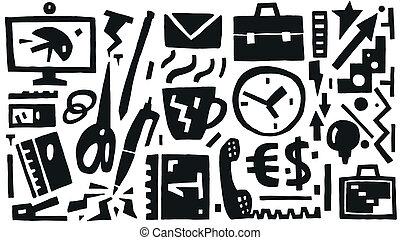 handlowe biuro, ikony, rzeczy, -, wektor