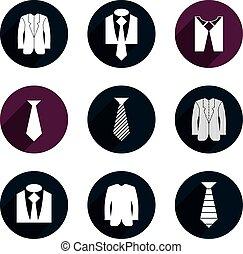 handlowe ikony, set., wektor, człowiek, odzież
