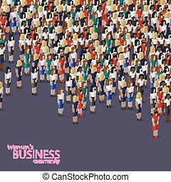 handlowe kobiety, ilustracja, isometric, wektor, community., 3d