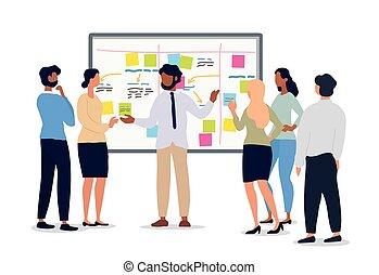 handlowe spotkanie, drużyna, albo, dzierżawa, lider