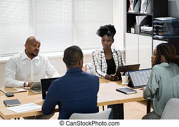 handlowe spotkanie, grupa, zbiorowy, afrykanin