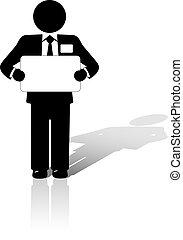 handlowy, copyspace, zawiera, znak, czysty, człowiek