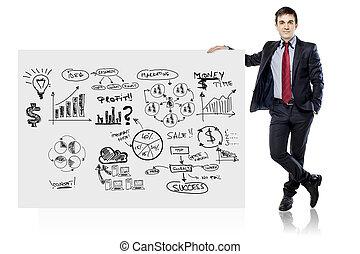 handlowy, deska, garnitur, biznesmen, biały, plan