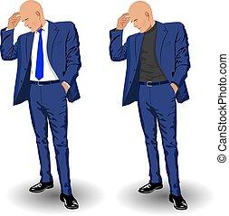 handlowy dostosowują, człowiek, błękitny, wizerunek