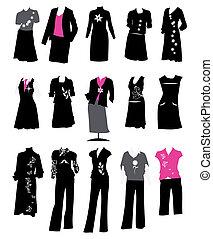 handlowy dostosowuje, kodeks, biuro, styl, damski, zbiór, strój