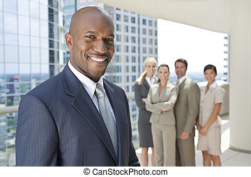 handlowy, &, drużyna, amerykanka, afrykanin, biznesmen, człowiek