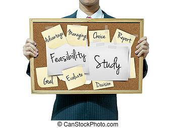 handlowy, etiuda, feasibility, tło, deska, dzierżawa, człowiek