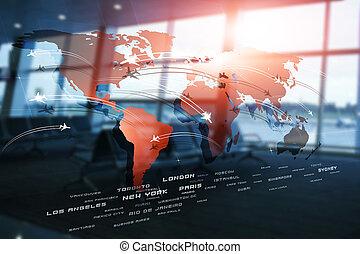 handlowy, globalny, avaitaion, tło