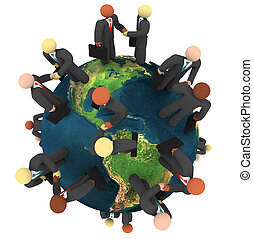 handlowy, globalny, -, dyle, handshakes, międzynarodowy