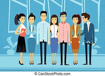 handlowy, grupa, asian, biurowe ludzie