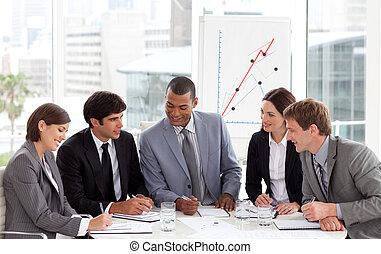 handlowy, kąt, zebranie, wysoki, grupa, rozmaity