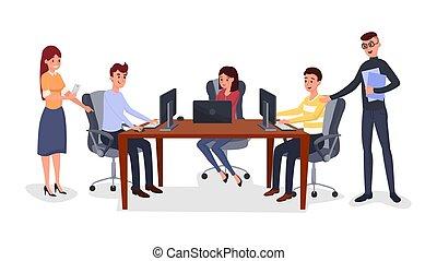 handlowy, kierownictwo, spotkanie, ilustracja, drużyna